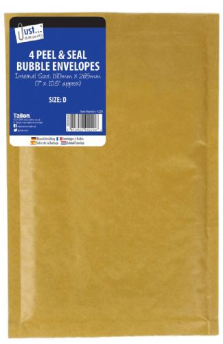 4 Bubble Envelopes Size D 180 x 265